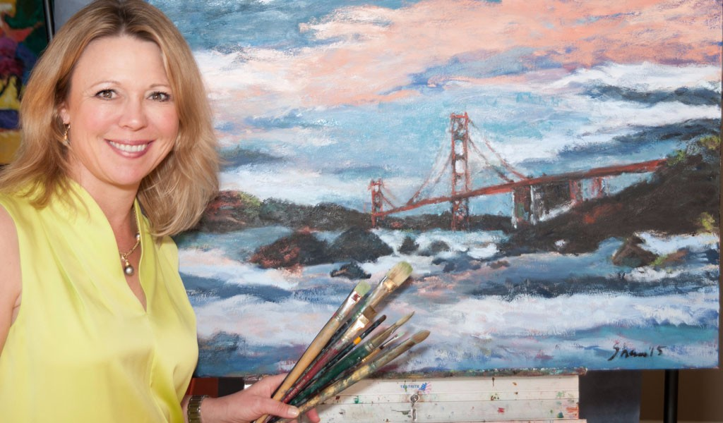 Shannon with Golden Gate Bridge Oil Painting
